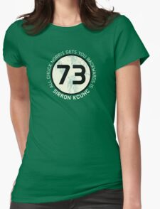 Sheldon Cooper 73 - Distressed Vanilla Cream Circle Chuck Norris Text Womens Fitted T-Shirt