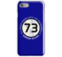 Sheldon Cooper 73 - Distressed Vanilla Cream Circle Chuck Norris Text iPhone Case/Skin