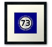 Sheldon Cooper 73 - Distressed Vanilla Cream Circle Chuck Norris Text Framed Print