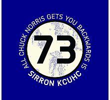 Sheldon Cooper 73 - Distressed Vanilla Cream Circle Chuck Norris Text Photographic Print