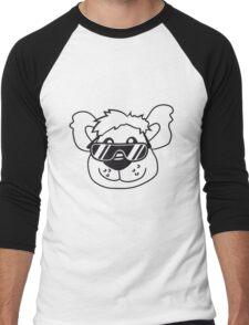 cool sunglasses summer face head teddy party comic cartoon Men's Baseball ¾ T-Shirt