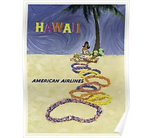 Hawaii American Airlines Vintage Travel Poster Poster
