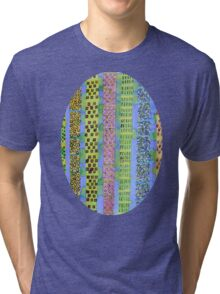 Blue Vertical Stripes and Ornaments  Tri-blend T-Shirt