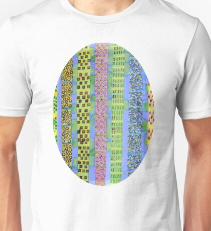 Blue Vertical Stripes and Ornaments  Unisex T-Shirt