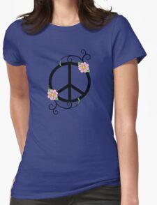 Peace, Daisy, Swirl Illustration Womens Fitted T-Shirt