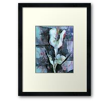 Abstract Flower in Blue by Laura L. Leatherwood Framed Print