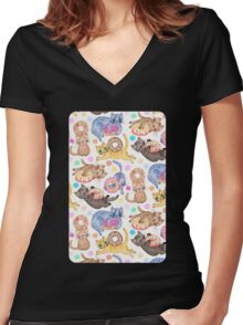 Sprinkles on Donuts and Whiskers on Kittens Women's Fitted V-Neck T-Shirt
