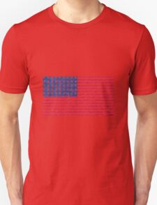 Patriotic Primitive Red and Blue American Stars and Stripes Unisex T-Shirt