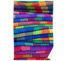 Background of colored fabrics from Bolivia ethnic market Poster
