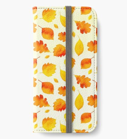 Yellow Autumn Leaves Watercolor iPhone Wallet/Case/Skin