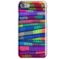 Background of colored fabrics from Bolivia ethnic market iPhone Case/Skin