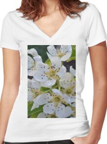 pear blossom Women's Fitted V-Neck T-Shirt