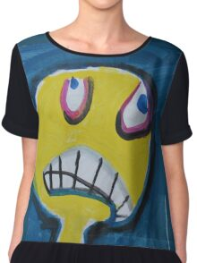 Troy - Graphic Yellow Face With Blue Background Chiffon Top