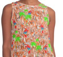 Tropical Parrot Jungle Trendy Pattern Contrast Tank
