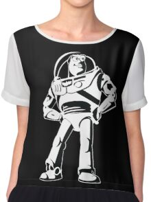 Buzz Lightyear Black and White Vector Chiffon Top