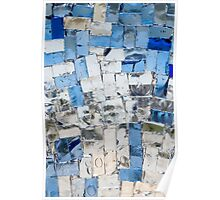Multicolored stained glass window with blocks Poster
