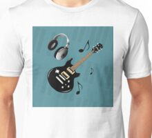 Blue Piano Keys Black Electric Guitar Unisex T-Shirt