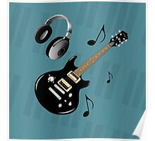 Blue Piano Keys Black Electric Guitar Poster