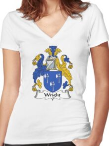 Wright Coat of Arms / Wright Family Crest Women's Fitted V-Neck T-Shirt