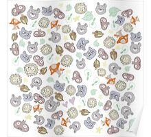 Forest Animal Pattern Poster