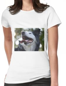 Dog panting, playing and having fun! Womens Fitted T-Shirt