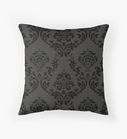 Gothic Floral Pattern Gray and Black Throw Pillow