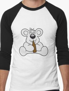 drunk thirsty cola drink alcohol party bottle beer drinking sweet little cute polar teddy bear sitting funny dick Men's Baseball ¾ T-Shirt
