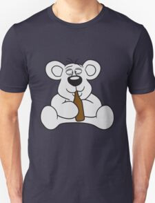 drunk thirsty cola drink alcohol party bottle beer drinking sweet little cute polar teddy bear sitting funny dick Unisex T-Shirt