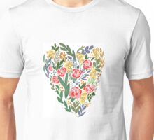 Heart in flowers and leaves Unisex T-Shirt