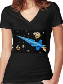 ROCKET SHIP X-12 Women's Fitted V-Neck T-Shirt