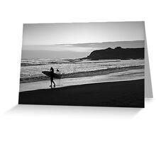 Twilight Surfers BW Greeting Card