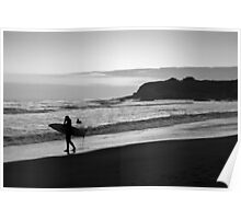 Twilight Surfers BW Poster