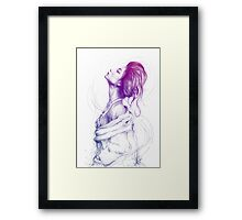 Beautiful Purple Woman Illustration Fashion Beauty Art Framed Print