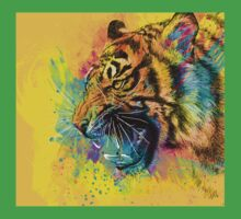 Angry Tiger Colorful Illustration Yellow Wild Animal One Piece - Short Sleeve