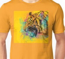 Angry Tiger Colorful Illustration Yellow Wild Animal Unisex T-Shirt