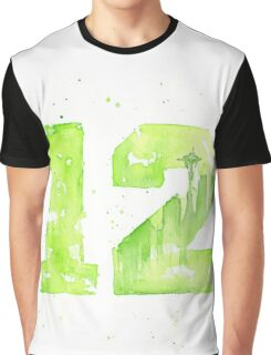 12th Man Art Seattle Watercolor Space Needle Graphic T-Shirt