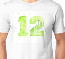 12th Man Art Seattle Watercolor Space Needle Unisex T-Shirt