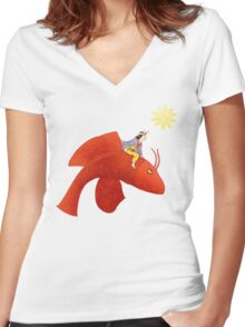 Girl on Flying Fish Women's Fitted V-Neck T-Shirt