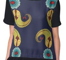 Curious Fish with Water Lily Chiffon Top