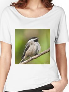 Black Capped Chickadee Singing Women's Relaxed Fit T-Shirt
