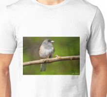 Dark Eyed Junco Perched on a Branch Unisex T-Shirt