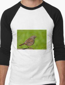 Song Sparrow on a Log Men's Baseball ¾ T-Shirt