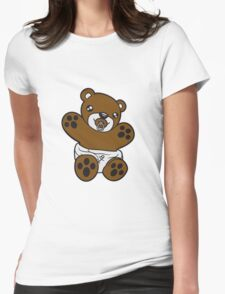 baby pacifier diaper child sweet cute small comic cartoon teddy bear Womens Fitted T-Shirt
