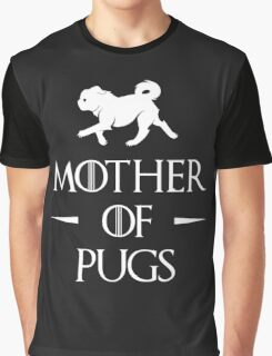 Mother of Pugs - White Graphic T-Shirt