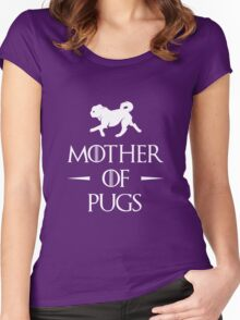 Mother of Pugs - White Women's Fitted Scoop T-Shirt