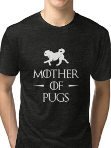 Mother of Pugs - White Tri-blend T-Shirt