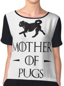 Mother of Pugs - Black Chiffon Top