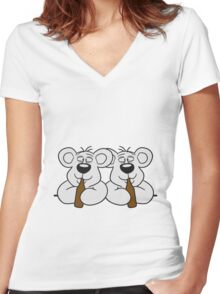 2 team crew buddies table wall shield drunk thirsty cola drink alcohol party bottle beer drinking polar teddy bear funny Women's Fitted V-Neck T-Shirt