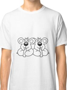 2 team crew buddies table wall shield drunk thirsty cola drink alcohol party bottle beer drinking polar teddy bear funny Classic T-Shirt