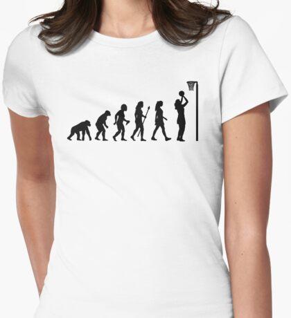 Funny Netball Evolution Shirt Womens Fitted T-Shirt
